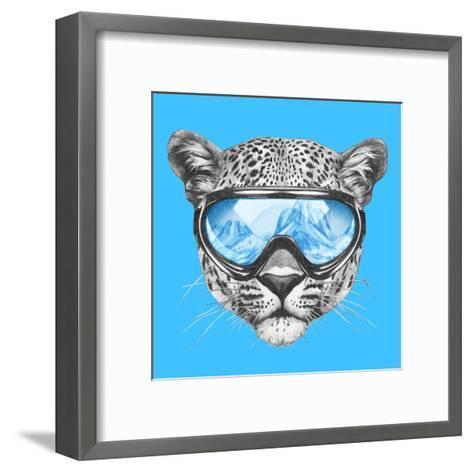 Portrait of Leopard with Ski Goggles. Hand Drawn Illustration.-victoria_novak-Framed Art Print