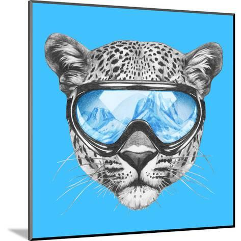 Portrait of Leopard with Ski Goggles. Hand Drawn Illustration.-victoria_novak-Mounted Art Print