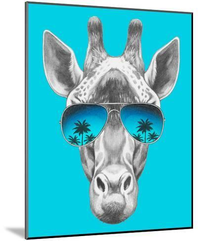 Portrait of Giraffe with Mirror Sunglasses. Hand Drawn Illustration.-victoria_novak-Mounted Art Print