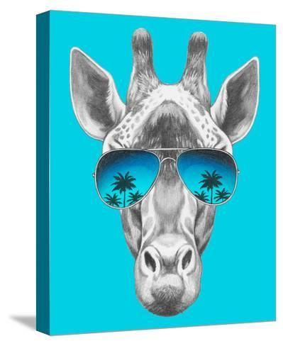Portrait of Giraffe with Mirror Sunglasses. Hand Drawn Illustration.-victoria_novak-Stretched Canvas Print