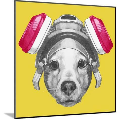 Portrait of Jack Russell Terrier Dog with Gas Mask. Hand Drawn Illustration.-victoria_novak-Mounted Art Print