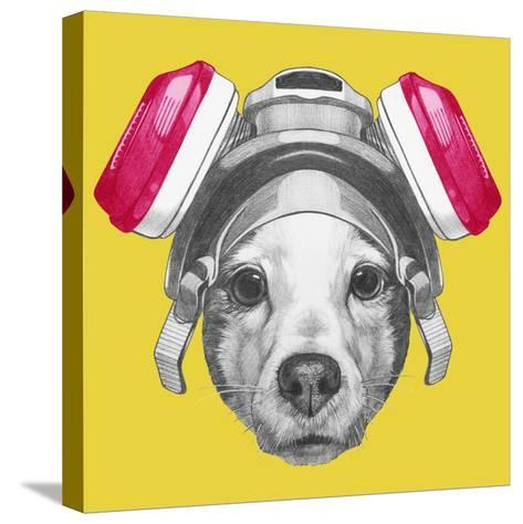 Portrait of Jack Russell Terrier Dog with Gas Mask. Hand Drawn Illustration.-victoria_novak-Stretched Canvas Print