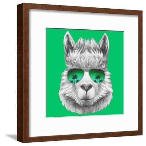 Portrait of Lama with Mirror Sunglasses and Scarf. Hand Drawn Illustration.-victoria_novak-Framed Art Print