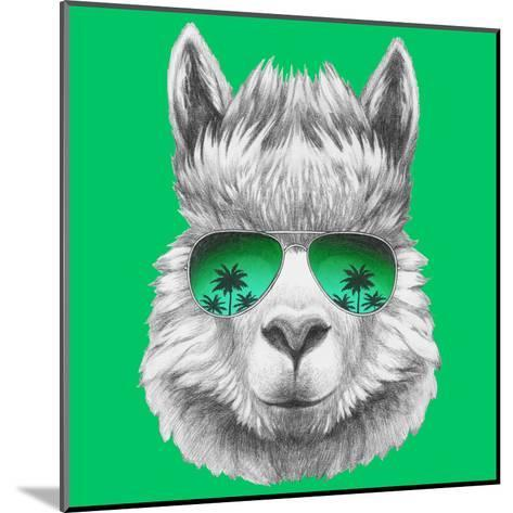 Portrait of Lama with Mirror Sunglasses and Scarf. Hand Drawn Illustration.-victoria_novak-Mounted Art Print