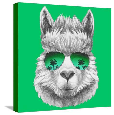 Portrait of Lama with Mirror Sunglasses and Scarf. Hand Drawn Illustration.-victoria_novak-Stretched Canvas Print