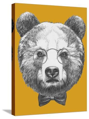 Original Drawing of Bear with Glasses and Bow. Isolated on Colored Background-victoria_novak-Stretched Canvas Print