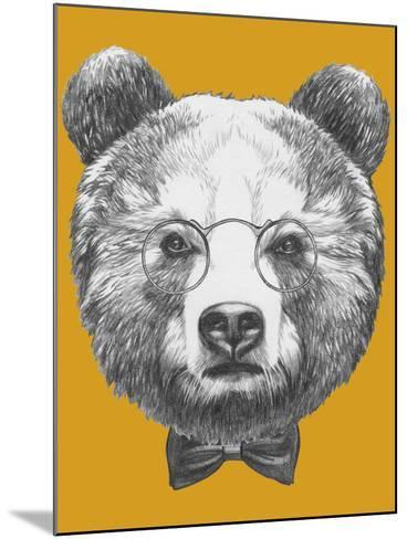 Original Drawing of Bear with Glasses and Bow. Isolated on Colored Background-victoria_novak-Mounted Art Print