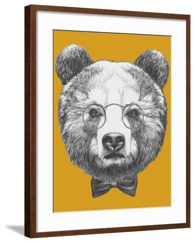 Original Drawing of Bear with Glasses and Bow. Isolated on Colored Background-victoria_novak-Framed Art Print