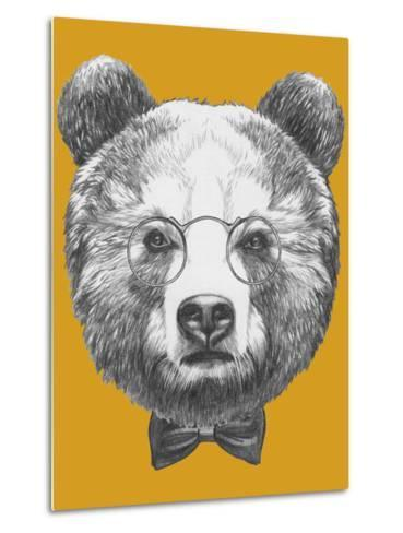 Original Drawing of Bear with Glasses and Bow. Isolated on Colored Background-victoria_novak-Metal Print