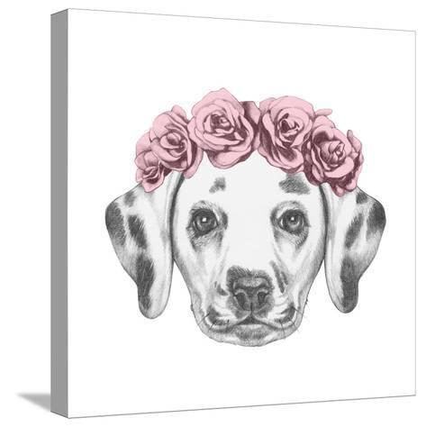 Portrait of Dalmatian Dog with Floral Head Wreath. Hand Drawn Illustration.-victoria_novak-Stretched Canvas Print