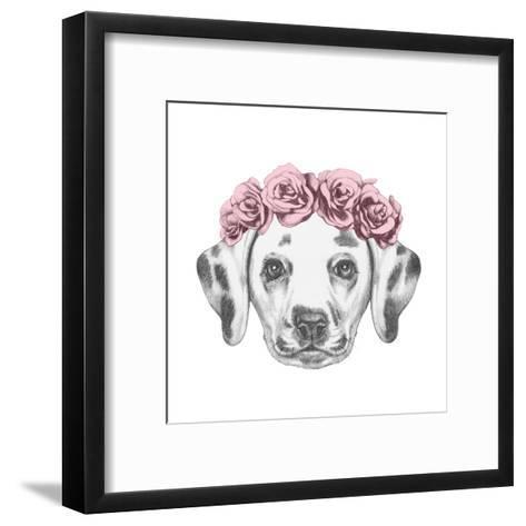 Portrait of Dalmatian Dog with Floral Head Wreath. Hand Drawn Illustration.-victoria_novak-Framed Art Print