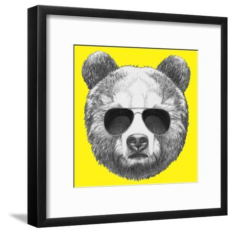 Original Drawing of Bear with Sunglasses. Isolated on Colored Background-victoria_novak-Framed Art Print