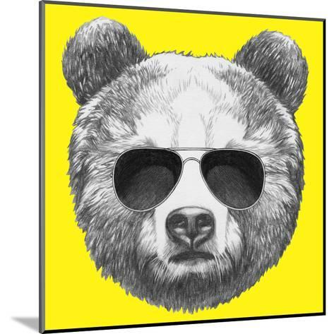 Original Drawing of Bear with Sunglasses. Isolated on Colored Background-victoria_novak-Mounted Art Print
