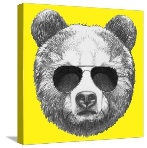 Original Drawing of Bear with Sunglasses. Isolated on Colored Background-victoria_novak-Stretched Canvas Print