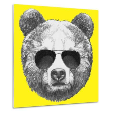 Original Drawing of Bear with Sunglasses. Isolated on Colored Background-victoria_novak-Metal Print