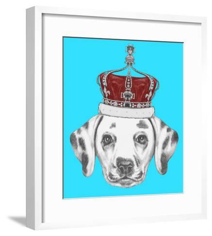 Portrait of Dalmatian Dog with Crown. Hand Drawn Illustration.-victoria_novak-Framed Art Print