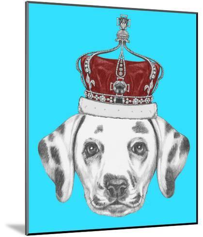 Portrait of Dalmatian Dog with Crown. Hand Drawn Illustration.-victoria_novak-Mounted Art Print