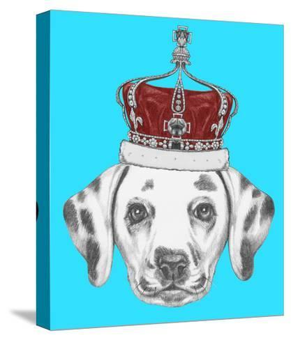 Portrait of Dalmatian Dog with Crown. Hand Drawn Illustration.-victoria_novak-Stretched Canvas Print