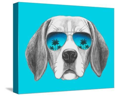 Portrait of Beagle Dog with Mirror Sunglasses. Hand Drawn Illustration.-victoria_novak-Stretched Canvas Print