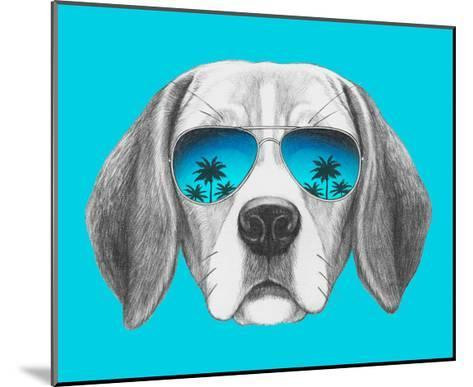 Portrait of Beagle Dog with Mirror Sunglasses. Hand Drawn Illustration.-victoria_novak-Mounted Art Print