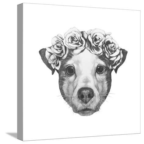 Original Drawing of Jack Russell with Floral Head Wreath. Isolated on White Background.-victoria_novak-Stretched Canvas Print