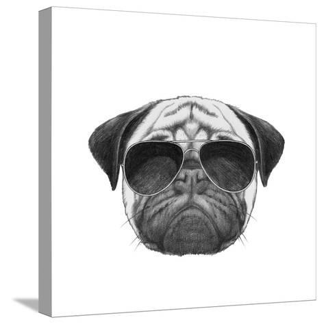 Original Drawing of Pug Dog with Sunglasses. Isolated on White Background-victoria_novak-Stretched Canvas Print