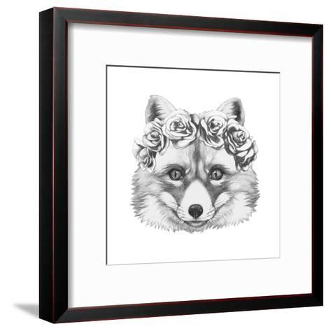 Original Drawing of Fox with Floral Head Wreath. Isolated on White Background.-victoria_novak-Framed Art Print