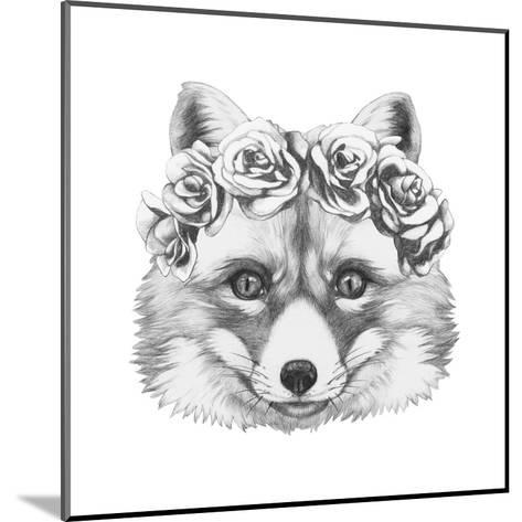 Original Drawing of Fox with Floral Head Wreath. Isolated on White Background.-victoria_novak-Mounted Art Print