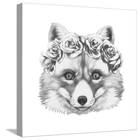 Original Drawing of Fox with Floral Head Wreath. Isolated on White Background.-victoria_novak-Stretched Canvas Print