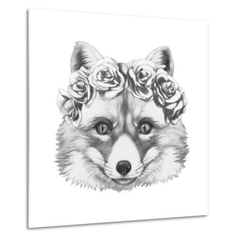 Original Drawing of Fox with Floral Head Wreath. Isolated on White Background.-victoria_novak-Metal Print