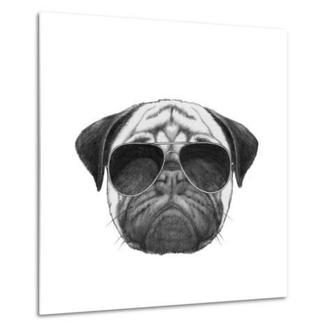 Original Drawing of Pug Dog with Sunglasses. Isolated on White Background-victoria_novak-Metal Print
