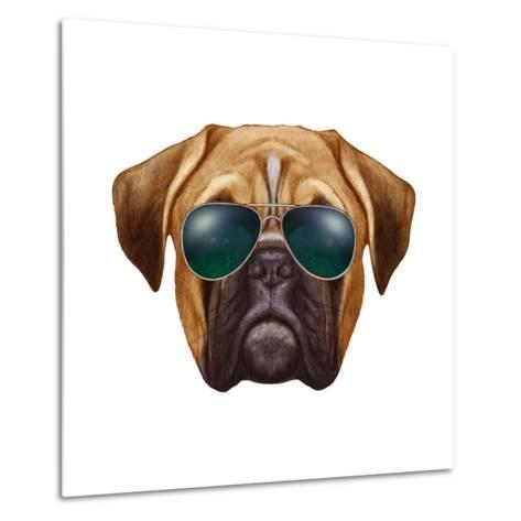 Original Drawing of Boxer Dog with Sunglasses. Isolated on White Background.-victoria_novak-Metal Print