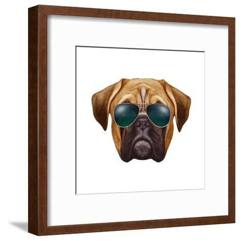 Original Drawing of Boxer Dog with Sunglasses. Isolated on White Background.-victoria_novak-Framed Art Print