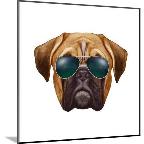 Original Drawing of Boxer Dog with Sunglasses. Isolated on White Background.-victoria_novak-Mounted Art Print