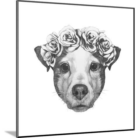 Original Drawing of Jack Russell with Floral Head Wreath. Isolated on White Background.-victoria_novak-Mounted Art Print