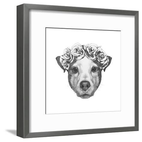Original Drawing of Jack Russell with Floral Head Wreath. Isolated on White Background.-victoria_novak-Framed Art Print