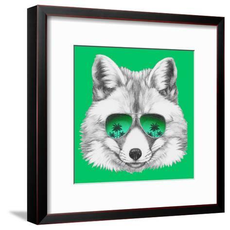 Original Drawing of Fox with Mirror Glasses. Isolated on Colored Background-victoria_novak-Framed Art Print