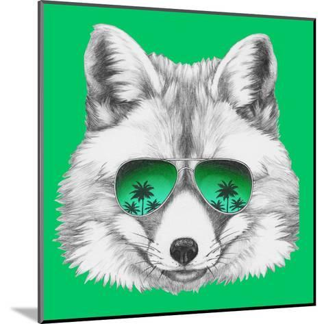 Original Drawing of Fox with Mirror Glasses. Isolated on Colored Background-victoria_novak-Mounted Art Print