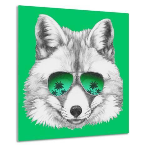 Original Drawing of Fox with Mirror Glasses. Isolated on Colored Background-victoria_novak-Metal Print