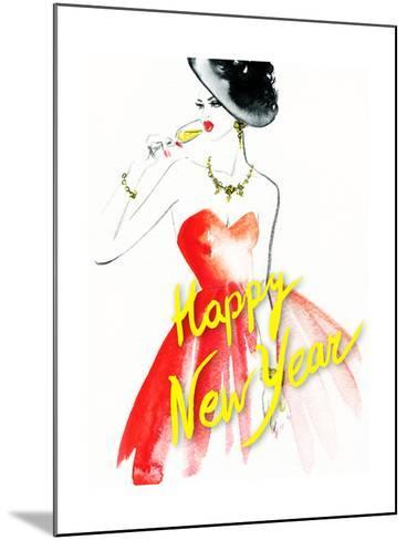 Woman with Glass of Champagne. Christmas and New Year Holiday Celebration. Watercolor Illustration-Anna Ismagilova-Mounted Art Print