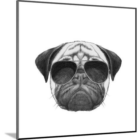Original Drawing of Pug Dog with Sunglasses. Isolated on White Background-victoria_novak-Mounted Art Print