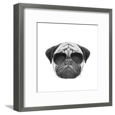 Original Drawing of Pug Dog with Sunglasses. Isolated on White Background-victoria_novak-Framed Art Print