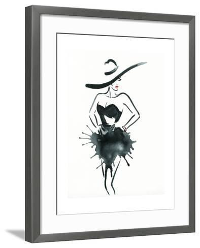 Woman with Elegant Dress .Abstract Watercolor-Anna Ismagilova-Framed Art Print
