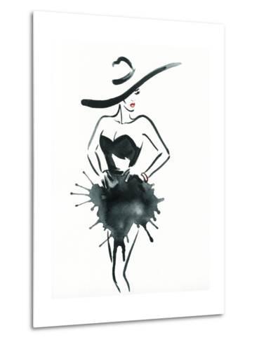 Woman with Elegant Dress .Abstract Watercolor-Anna Ismagilova-Metal Print