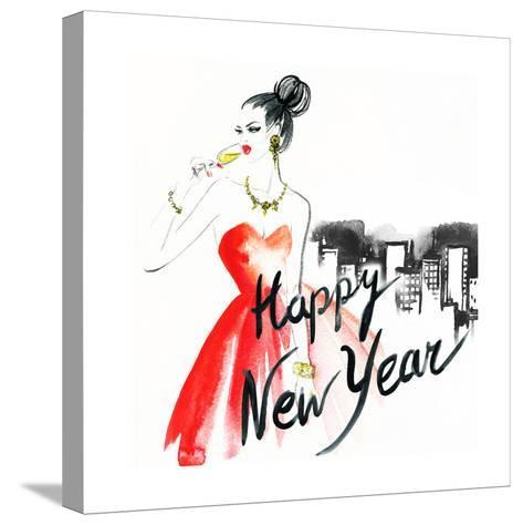 Woman with Glass of Champagne. Christmas and New Year Holiday Celebration. Watercolor Illustration-Anna Ismagilova-Stretched Canvas Print