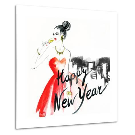 Woman with Glass of Champagne. Christmas and New Year Holiday Celebration. Watercolor Illustration-Anna Ismagilova-Metal Print