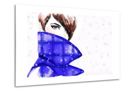 Woman Portrait with Coat. Beautiful Face. Abstract Watercolor .Fashion Background-Anna Ismagilova-Metal Print