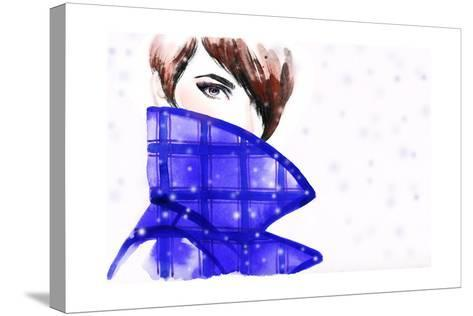 Woman Portrait with Coat. Beautiful Face. Abstract Watercolor .Fashion Background-Anna Ismagilova-Stretched Canvas Print