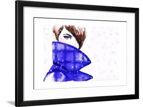 Woman Portrait with Coat. Beautiful Face. Abstract Watercolor .Fashion Background-Anna Ismagilova-Framed Art Print