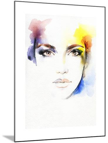 Woman Portrait .Abstract Watercolor-Anna Ismagilova-Mounted Art Print